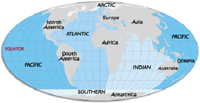 pacific ocean map for kids  The above globe map shows